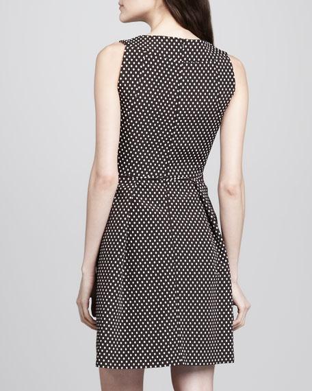 Dot-Jacquard Square-Neck Dress