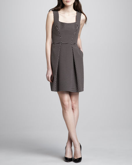 Dot-Jacquard Square-Neck Dress