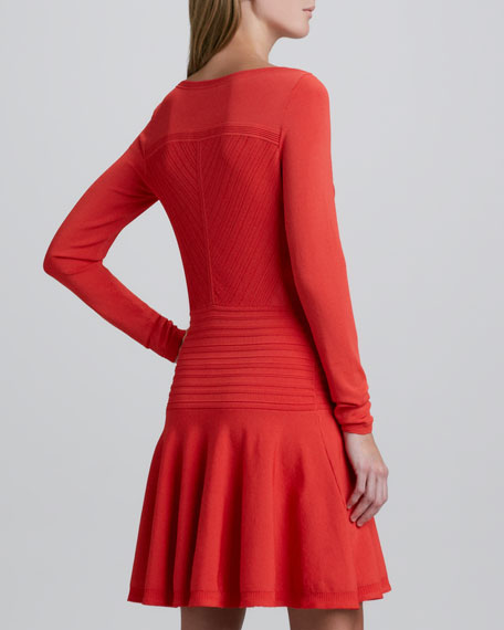 Delta Long-Sleeve Flounce Dress
