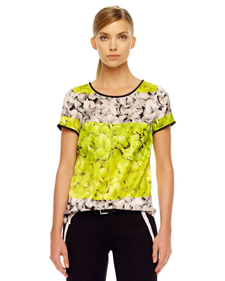 Two-Tone Floral-Print Top