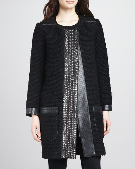 Girona Leather-Trim Coat