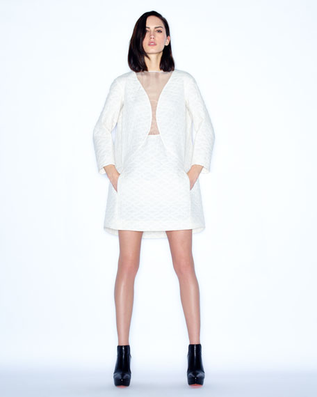 Quilted Illusion-Neck Cocoon Dress