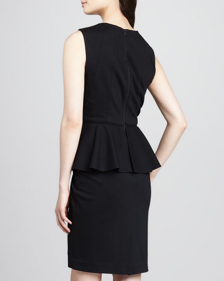 Jewel-Neck Peplum Dress