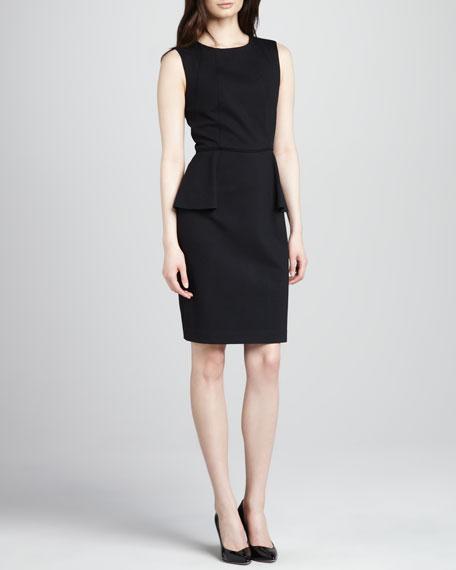 Jewel-Neck Peplum Dress