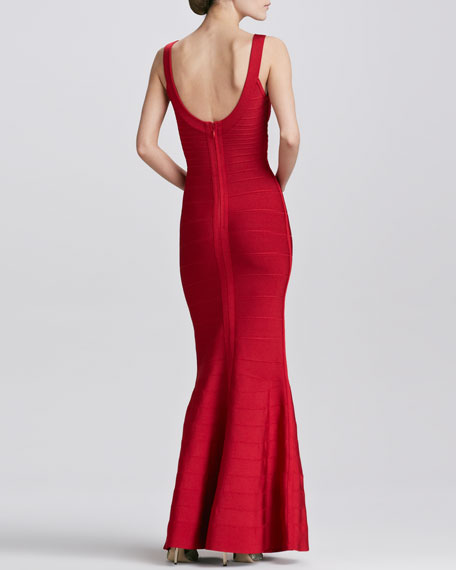 Scoop-Neck Bandage Gown