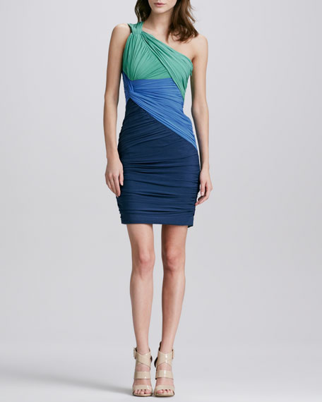 Ruched Colorblock One-Sholuder Dress