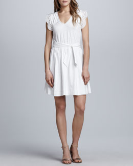 French Connection Solitude Eyelet-Sleeve Dress