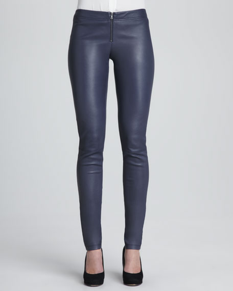 Leather Zip-Front Leggings, Navy