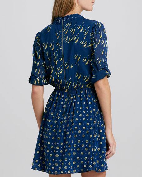 Neka Printed Tie-Neck Dress