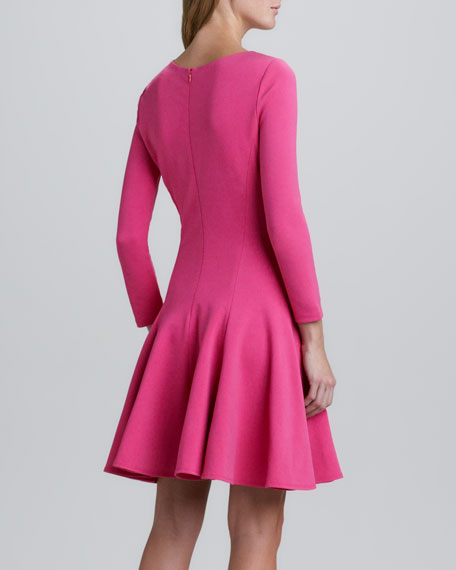 Cutout-Front Flared Dress, Berry