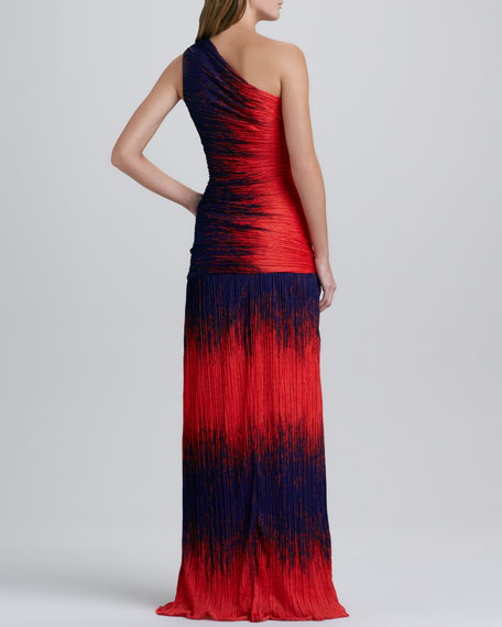 Ruched-Top One-Shoulder Gown