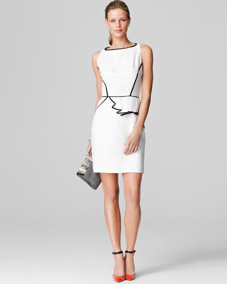 Ella Asymmetric Contrast-Trim Dress