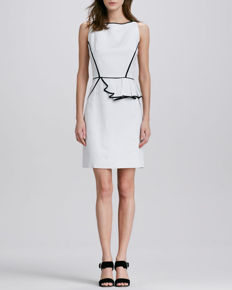 Ella Asymmetric Contrast-Trim Dress