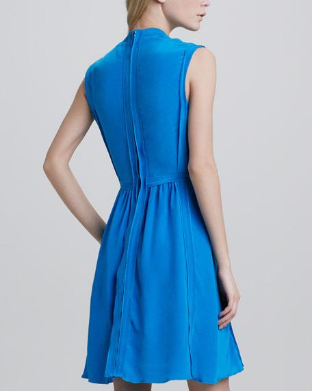 Pleated Reverse-Seam Dress