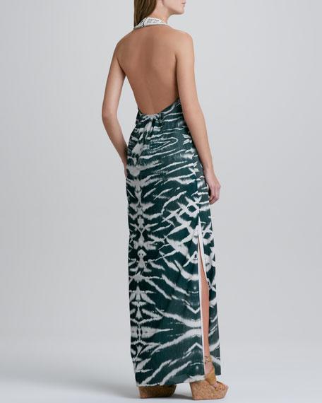 Haute Hippie Embellished-Neck Halter Gown
