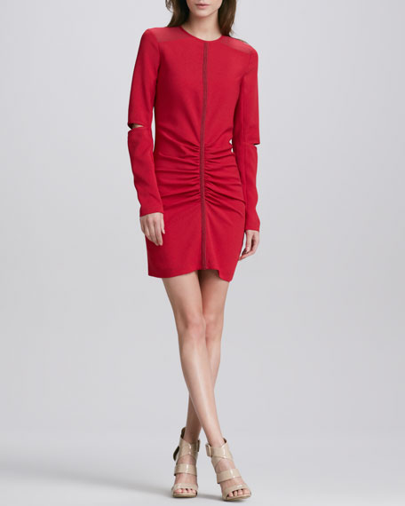 Elbow-Cutout Ruched Dress