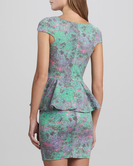 Divine Stone Peplum Dress, Turquoise