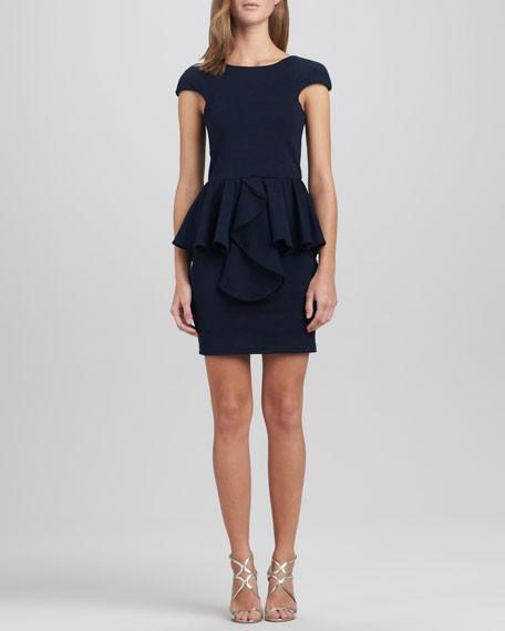 Divine Stone Peplum Dress, Navy