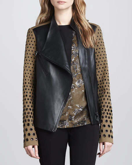 Two-Tone Leather Grommet Jacket