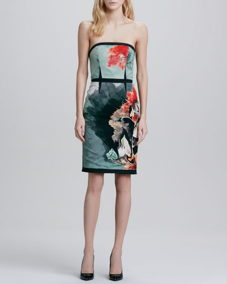 Evita Strapless Floral-Print Dress