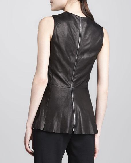 Leather Back-Zip Peplum Top