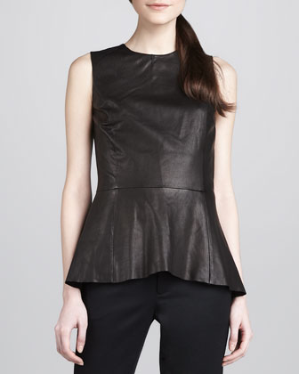 Leather Back-Zip Peplum Top