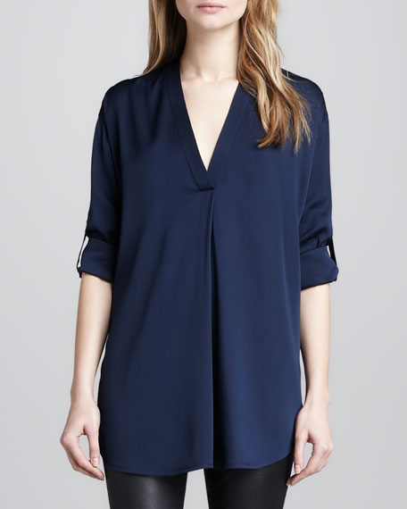 Loose Stretch-Silk Blouse