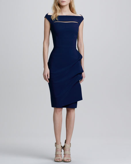 Melania Cap-Sleeve Draped Cocktail Dress