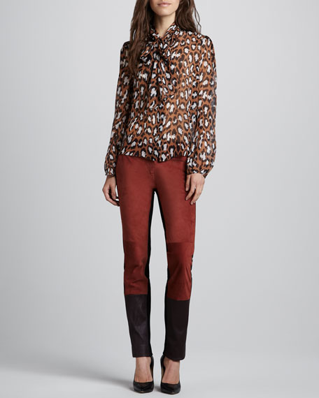 Cecily Suede/Leather & Knit Pants