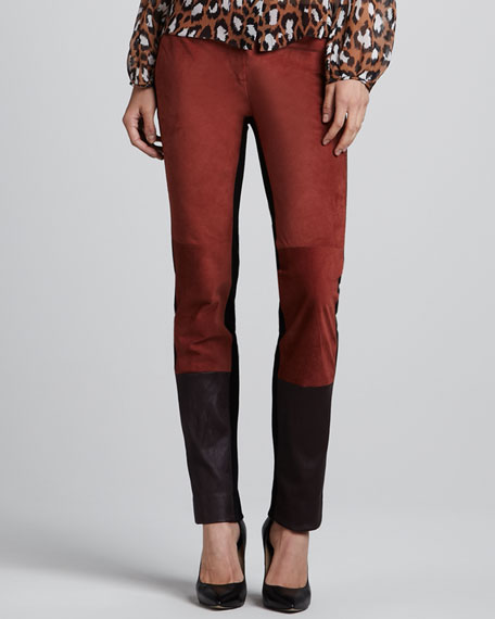 Diane von Furstenberg Cecily Suede/Leather & Knit Pants