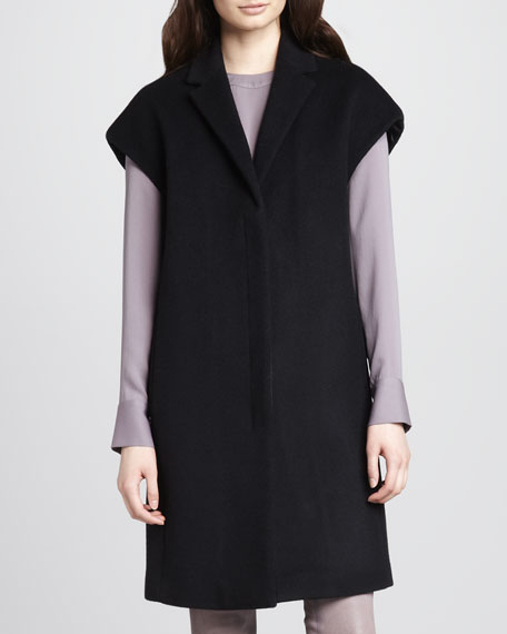 Paola Cap-Sleeve Wool Coat