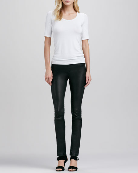 Stretch-Leather Ankle Leggings
