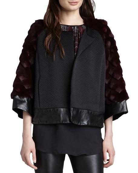 Rabbit Fur-Sleeve Opera Coat