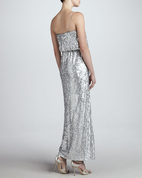 Sequined Spaghetti-Strap Gown
