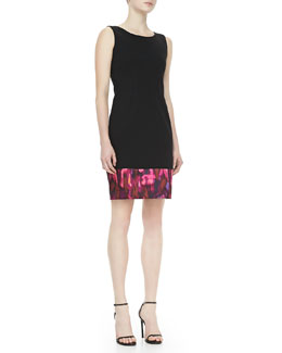 T Tahari Vahlen Sheath Dress with Multicolor Hem