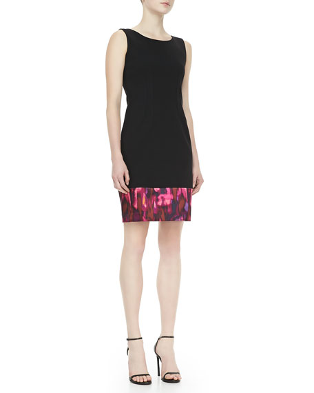 Vahlen Sheath Dress with Multicolor Hem