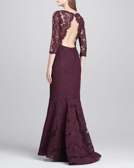 Jae Open-Back Lace Gown