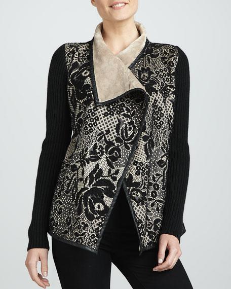 Faux-Fur Drape-Front Lace Cardigan
