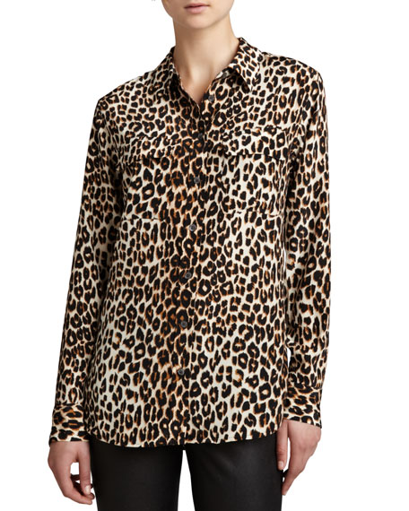 61546a0447748 Image 1 of 2  Slim Signature Leopard-Print Blouse