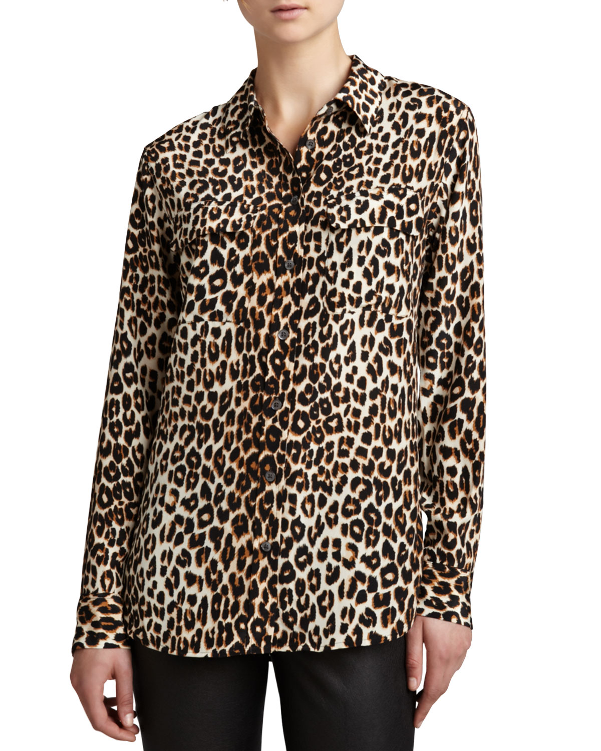 f12a2a5f6e604 Equipment Slim Signature Leopard-Print Blouse