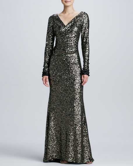 Sequined Long-Sleeve Ruched Gown