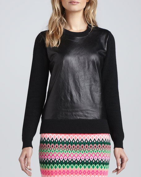 Milly Leather-Front Sweater, Black/Black