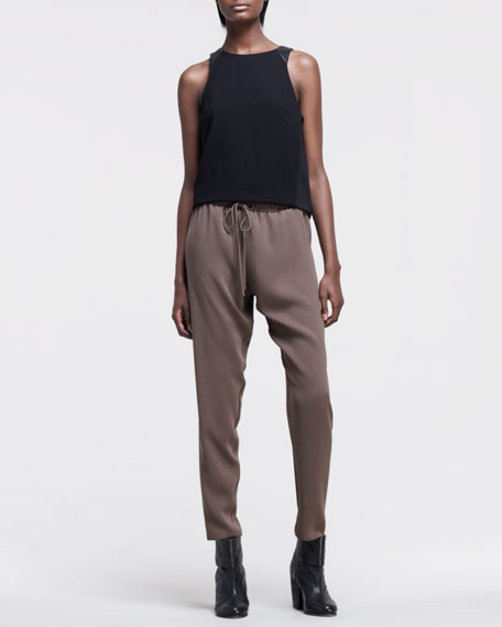 Relaxed Tapered Drawstring Trousers, Moss Green