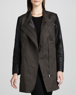 Water-Repellent Coat with Leather Sleeves