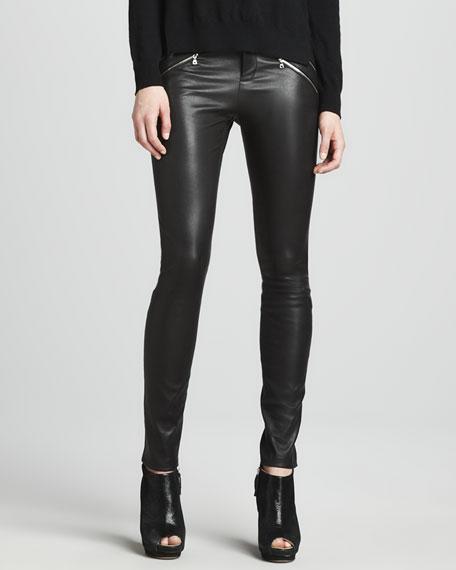 Claudette Leather Pants, Black
