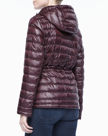 Hooded Anorak Puffer Jacket with Cinched Waist