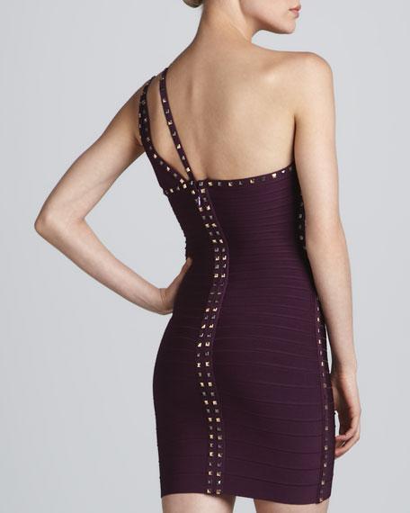 Stud-Trim One-Shoulder Bandage Dress