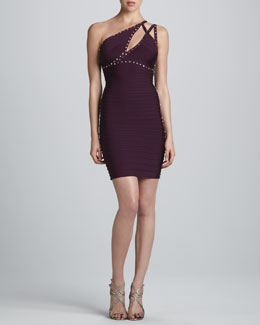 Herve Leger Stud-Trim One-Shoulder Bandage Dress