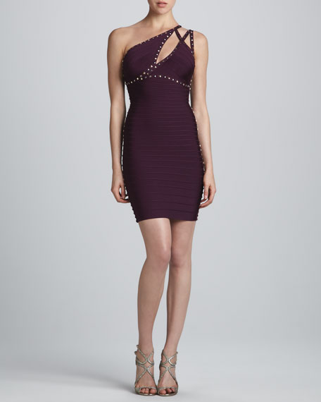 Stud-Trim One-Shoulder Bandage Dress