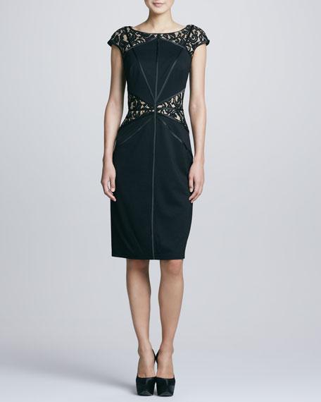 Lace Yoke & Waist Cocktail Dress, Black